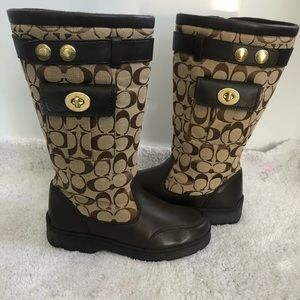 Coach Kayla Logo TurnLock Zip Boots Size 6.5 M